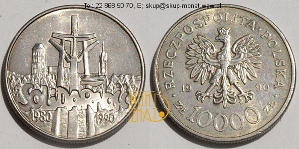 Warszawa – 10000 zł 1990 r. – Solidarność 1980-1990, dziesięć tysięcy złotych