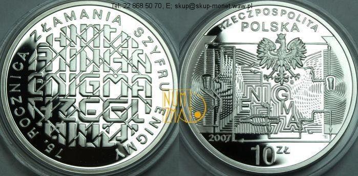 Warszawa – 10 zł 2007 r. – 75. rocznica złamania szyfru Enigmy