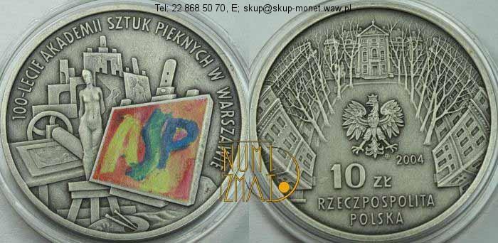 Warszawa – 10 zł 2004 r. – ASP – 100-lecie Akademii Sztuk Pięknych w Warszawie