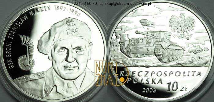 Warszawa – 10 zł 2003 r. – Gen. broni Stanisław Maczek 1892-1994
