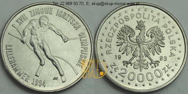 Warszawa – 20000 zł 1993 r. – XVII Zimowe Igrzyska Olimpijskie Lillehammer 1994, dwadzieścia tysięcy złotych