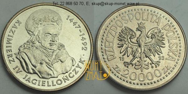 Warszawa – 20000 zł 1993 r. – Kazimierz IV Jagiellończyk, dwadzieścia tysięcy złotych