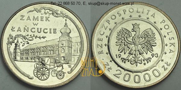 Warszawa – 20000 zł 1993 r. – Zamek w Łańcucie, dwadzieścia tysięcy złotych