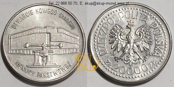 Warszawa – 20000 zł 1994 r. – Otwarcie nowego gmachu Mennicy Państwowej, dwadzieścia tysięcy złotych