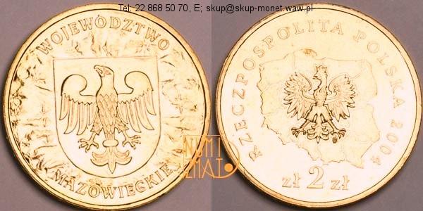 Warszawa – 2 zł 2004 r. – Województwo mazowieckie – Herby województw, dwa złote NG