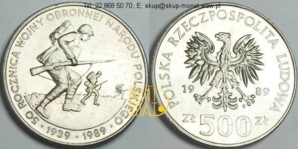 Warszawa – 500 zł 1989 r. – 50 rocznica wojny obronnej narodu Polskiego 1939-1989