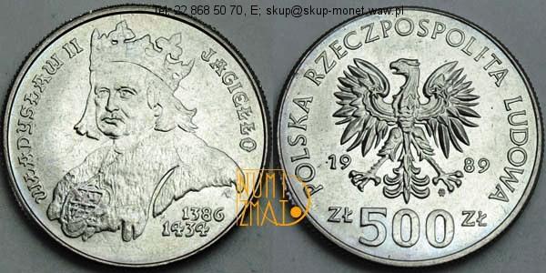 Warszawa – 500 zł 1989 r. – Władysław II Jagiełło, pięćset złotych