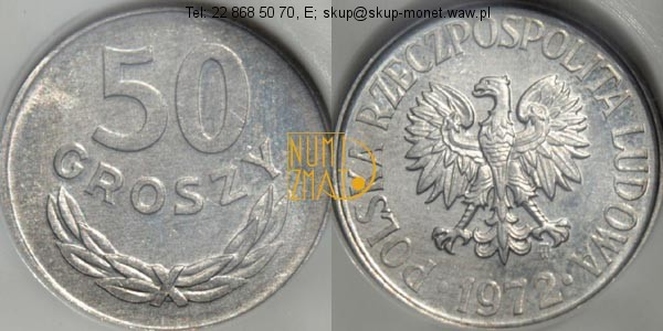 Warszawa – 50 gr 1972 r. MS 69