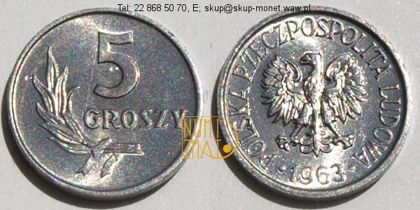 Warszawa – 5 gr 1963 r. pięć groszy