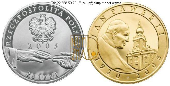 Warszawa – 10 zł 2005 r. – Platerowana – Papież Jan Paweł II (1920-2005)