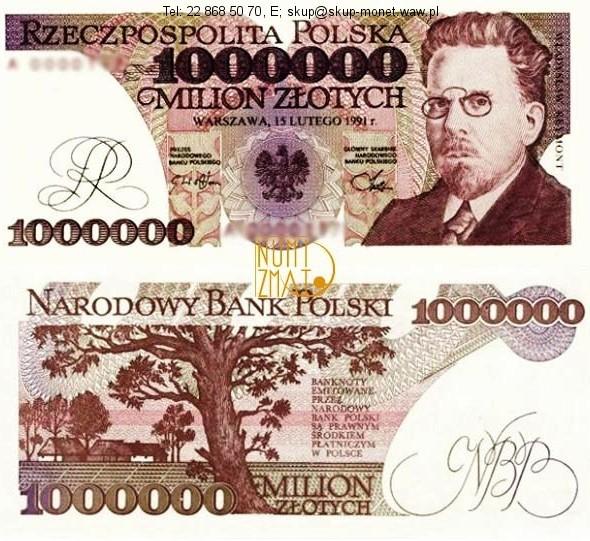 Warszawa – Banknot 1000000 zł 1991 REYMONT milion złotych UNC