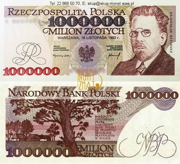 Warszawa – Banknot 1000000 zł 1993 REYMONT milion złotych UNC