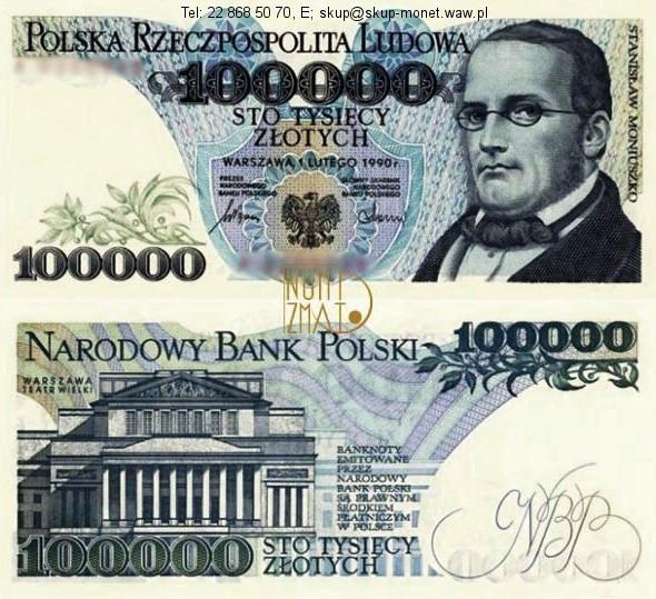 Warszawa – Banknot 100000 zł 1990 SERIA A, MONIUSZKO sto tysięcy złotych UNC