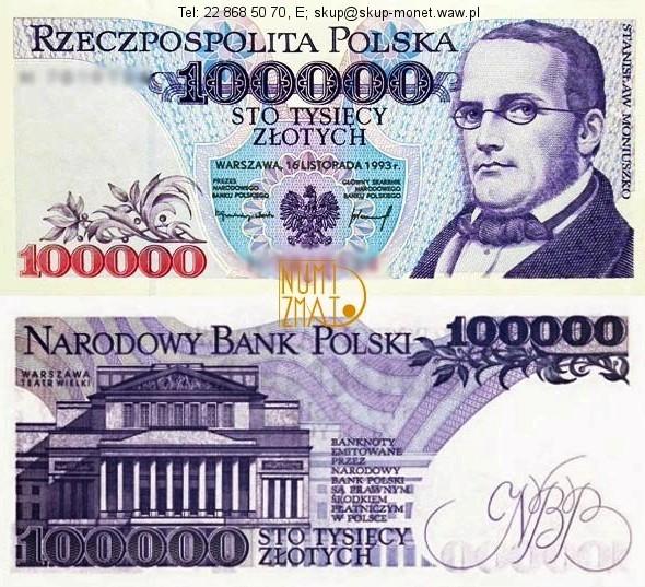 Warszawa – Banknot 100000 zł 1993 SERIA A, MONIUSZKO sto tysięcy złotych UNC
