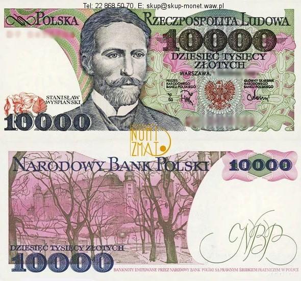 Warszawa – Banknot 10000 zł 1988 WYSPIAŃSKI dziesięć tysięcy złotych UNC