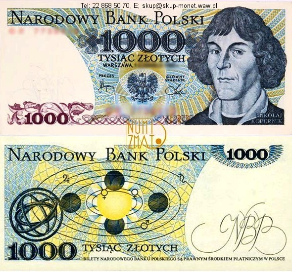 Warszawa – Banknot 1000 zł 1975 SERIA AF, KOPERNIK tysiąc złotych UNC