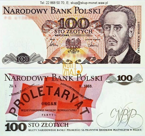 Warszawa – Banknot 100 zł 1986 SERIA MF, WARYŃSKI sto złotych UNC