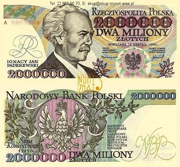 Warszawa – Banknot 2000000 zł 1992 seria A Z BŁÄDEM PADEREWSKI dwa miliony złotych UNC