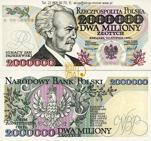 Warszawa – Banknot 2000000 zł 1993 PADEREWSKI dwa miliony złotych UNC