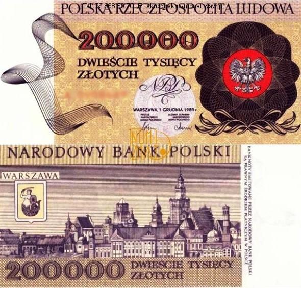 Warszawa – Banknot 200000 zł 1989 SERIA A, PANORAMA WARSZAWY dwieście tysięcy złotych UNC