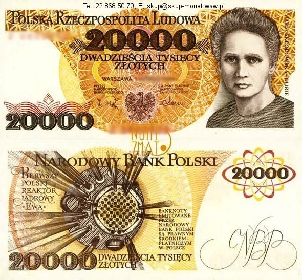Warszawa – Banknot 20000 zł 1989 SKŁODOWSKA dwadzieścia tysięcy złotych UNC
