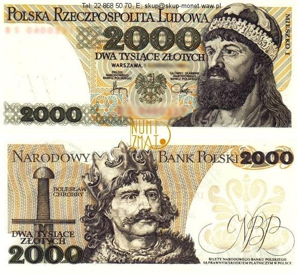 Warszawa – 1. Banknot 2000 zł 1982 SERIA LOSOWA, MIESZKO I dwa tysiące złotych UNC