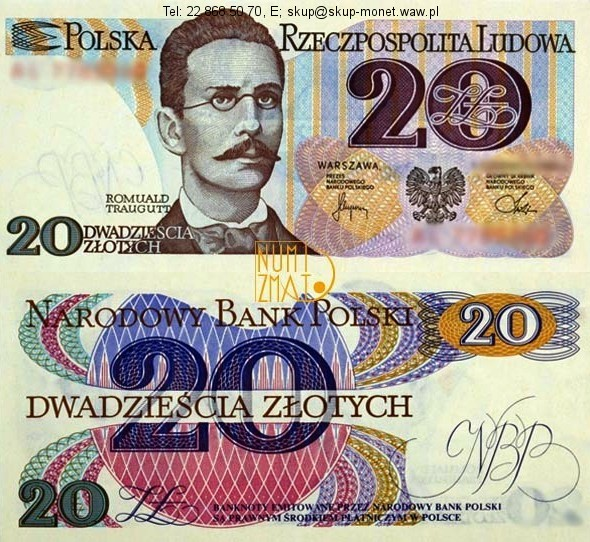 Warszawa – Banknot 20 zł 1982 SERIA AR, TRAUGUTT dwadzieścia złotych UNC