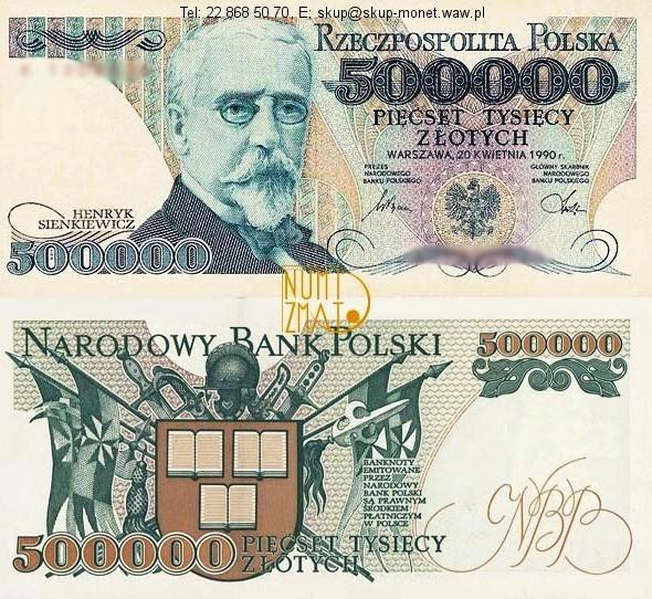 Warszawa – Banknot 500000 zł 1990 SERIA A, SIENKIEWICZ pięćset tysięcy złotych UNC