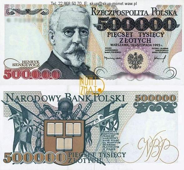 Warszawa – Banknot 500000 zł 1993 SERIA A, SIENKIEWICZ pięćset tysięcy złotych UNC
