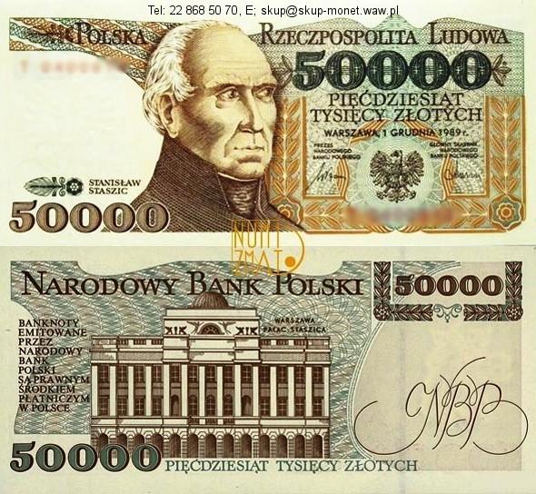 Warszawa – Banknot 50000 zł 1989 SERIA B, STASZIC pięćdziesiąt tysięcy złotych UNC