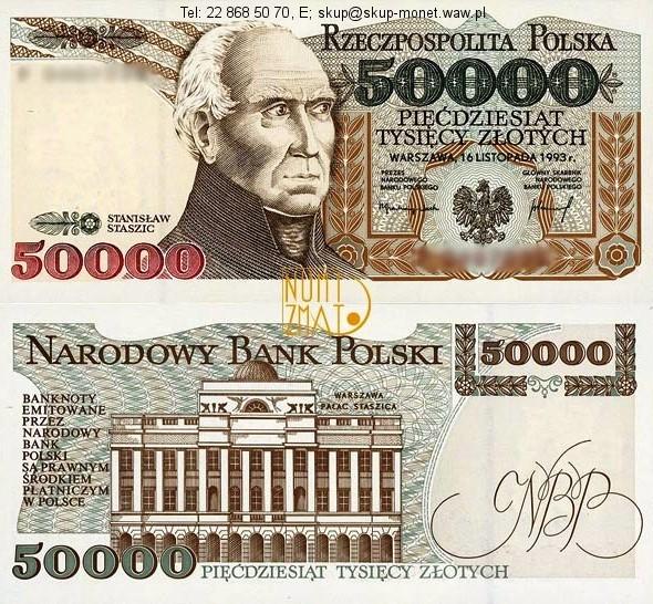 Warszawa – Banknot 50000 zł 1993 SERIA A, STASZIC pięćdziesiąt tysięcy złotych UNC