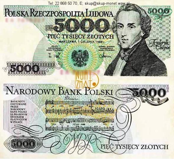 Warszawa – Banknot 5000 zł 1982 SERIA AU, CHOPIN pięć tysięcy złotych UNC