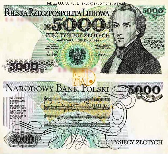 Warszawa – Banknot 5000 zł 1988 CHOPIN pięć tysięcy złotych UNC
