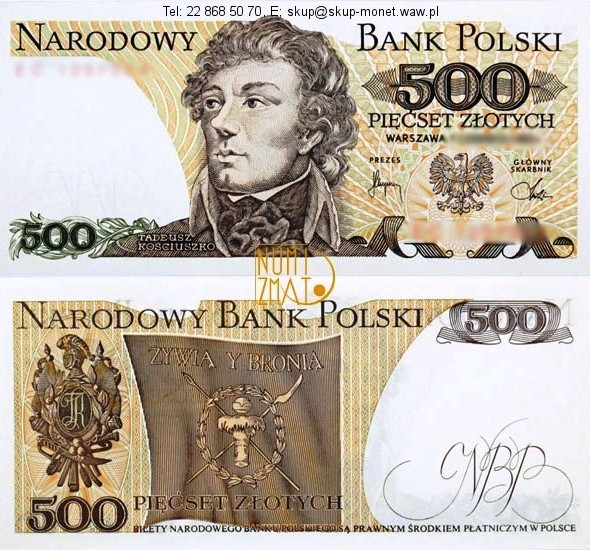 Warszawa – Banknot 500 zł 1979 SERIA BT, KOŚCIUSZKO pięćset złotych UNC