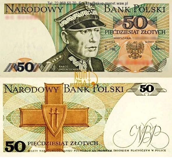 Warszawa – 1. Banknot 50 zł 1988 SERIA LOSOWA, ŚWIERCZEWSKI pięćdziesiąt złotych UNC